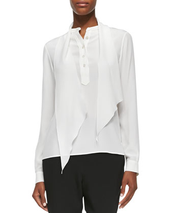 Half-Button Scarf Blouse, White