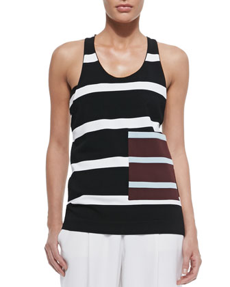 Striped Contrast Pocket Tank Top, Black/White