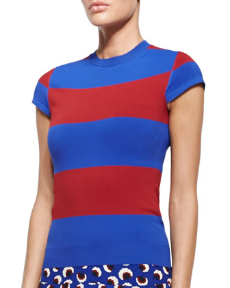 Cap-Sleeve Wide-Striped Sweater, Ultramarine