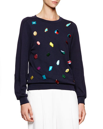 Jeweled Knit Crewneck Sweatshirt