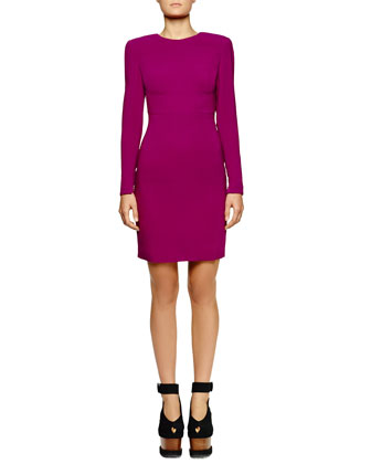 Jewel-Neck Open-Back Dress, Hyacinth