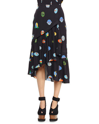 Superhero-Print Tiered Asymmetric Skirt