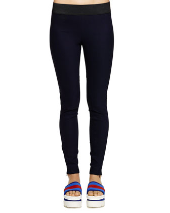 Zipper-Cuff Pull-On Leggings
