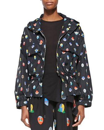 Hooded Superhero-Print Wind Jacket, Black