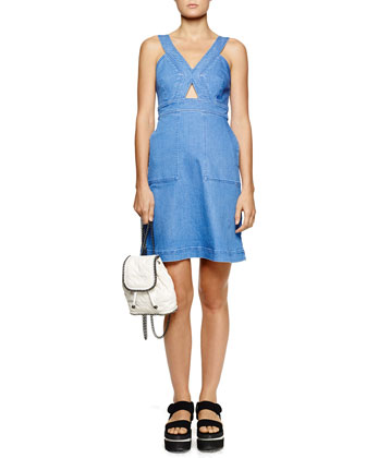 Cutout Strappy Denim Dress, Blue