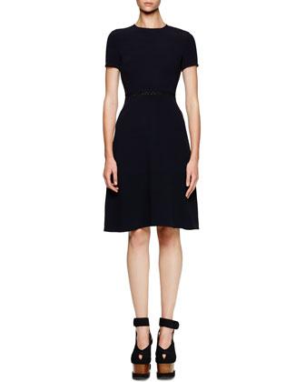 Mesh-Waist A-Line Knit Dress