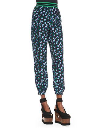 Blossom/Paisley Print Jacket, Blossom-Print Blouse & Stripe-Waistband ...