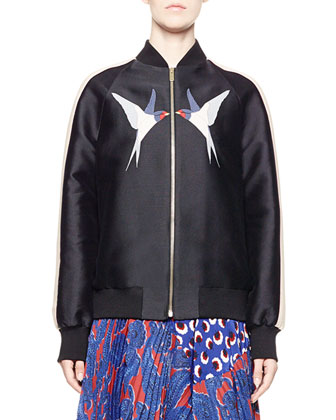 Starling-Applique Bomber Jacket