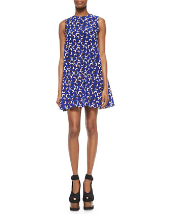 Blossom-Print Crepe Drop-Waist Dress