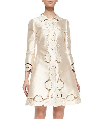 Laser-Cut Silk Mikado Topper Coat, Champagne