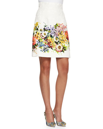 Sleeveless Floral-Panel Shell and High-Waist Floral Brocade Skirt