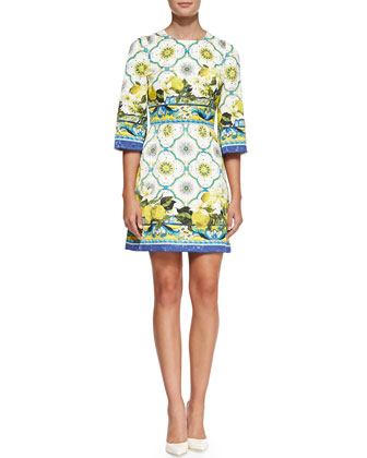 Lemon-Print A-Line Dress