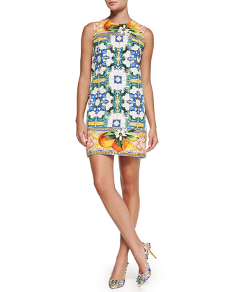 Sleeveless Printed Brocade Shift Dress