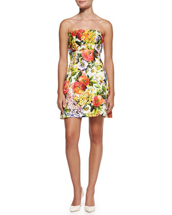 Strapless Floral Brocade Dress