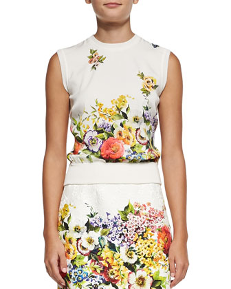 Sleeveless Floral-Panel Shell