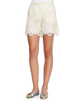 Paneled Printed Knit Cardigan and Macrame Lace Shorts
