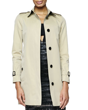 Straight Single-Breast Trench Coat & Embroidered Evening Dress