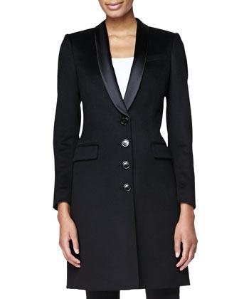 Satin-Lapel Tailored Evening Coat