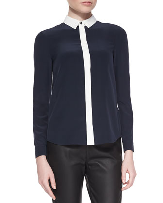 Colorblock Hidden-Button Blouse, Indigo/White