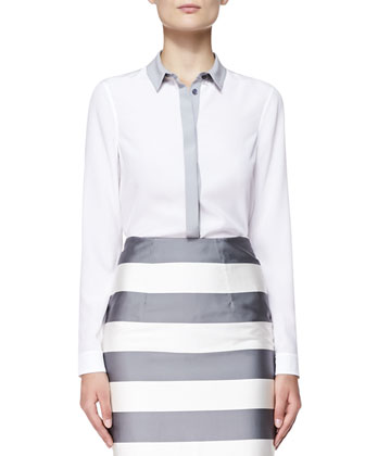Long-Sleeve Shirt W/ Colorblocked Placket & Striped Midi-Length Pencil Skirt