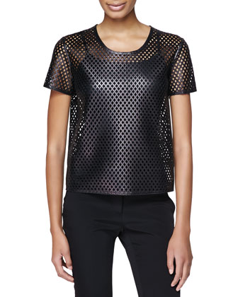 Lambskin Leather Mesh Shirt, Black
