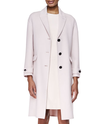 Cashmere Felt Double-Face Coat & Short-Sleeve Panel-Dress