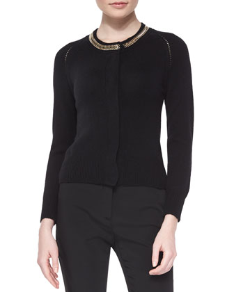 Cashmere-Blend Chain-Detailed Cardigan, Black