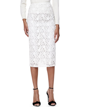Lace Midi-Length Pencil Skirt