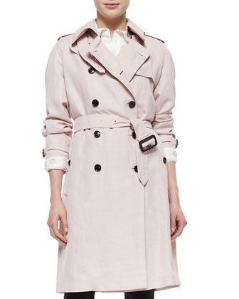 Double-Breasted Trenchcoat, Sheer-Dot Wide-Placket Shirt & Skinny-Leg ...