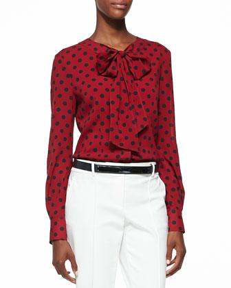 Classic Dot Print Stretch Silk Top, Cardinal Red