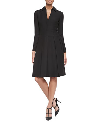 Long-Sleeve Shirtdress w/ Box Pleated Skirt