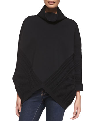 Cable Knit Poncho with Turtleneck