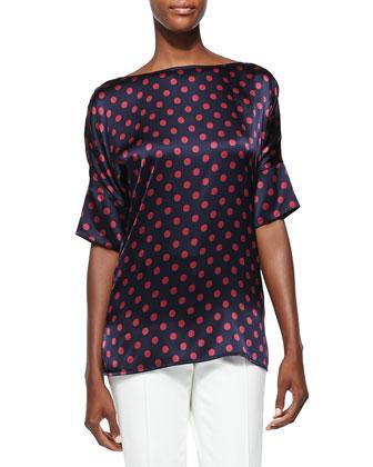 Classic Dot Print Stretch Silk Top, Navy/Cardinal