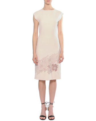 Embroidered-Bottom Cap-Sleeve Sheath Dress