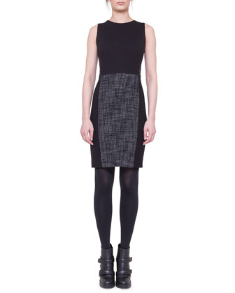 Tweed-Panel Sheath Dress