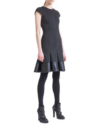 Jersey Godet Dress with Faux-Leather Hem