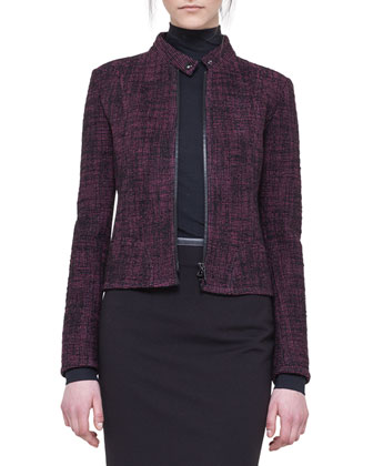 Tweed Zip Biker Jacket, Mock-Neck Top & Jersey Skirt with Faux-Leather Trim ...