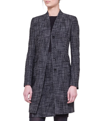 Shawl-Collar Tweed Coat and Tweed-Panel Sheath Dress