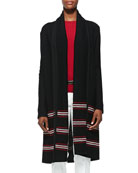 Cord Inlay Stripe Knit Shawl Cardigan, Caviar