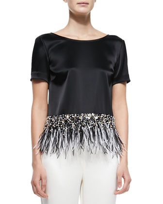 Liquid Satin Top with Feather Peplum, Caviar