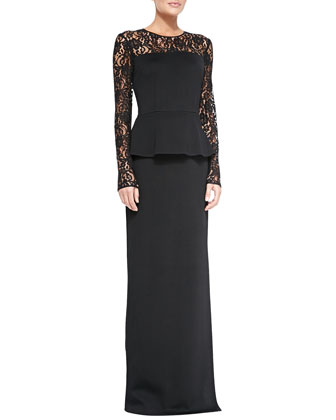 Double-Face Satin Crepe Gown with Lace Sleeves & Thin Leather Hip Belt ...