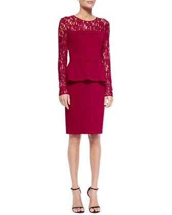 Double-Face Satin Crepe Dress with Lace Sleeves, Cardinal