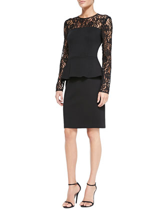 Double-Face Satin Crepe Dress with Lace Sleeves, Caviar