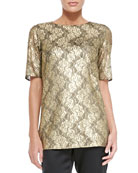 Gilded Lace Jewel-Neck Elbow-Sleeve Top