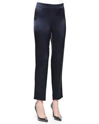 Liquid Satin Side-Zip Cropped Pants, Navy