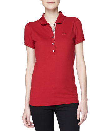 Peter Pan Collar Polo, Military Red