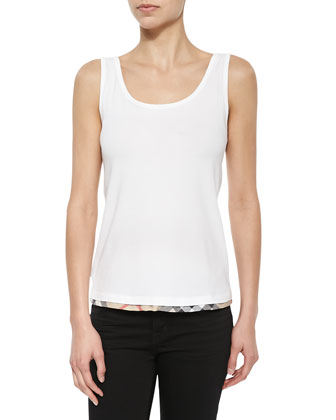 Check-Hem Cotton Vest Top, White