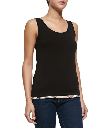 Scoop-Neck Vest Top W/ Check Trim