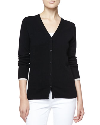 Cashmere V-Neck Cardigan with Check Trim