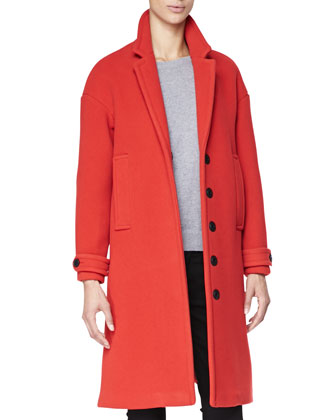 Oversized Single-Breasted Coat, Military Red
